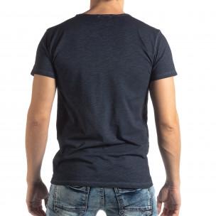 Ανδρική σκούρα μπλε κοντομάνικη μπλούζα Vintage στυλ  2