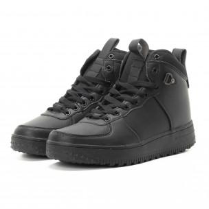 Ανδρικά μαύρα ψηλά sneakers με τρακτερωτή σόλα  2