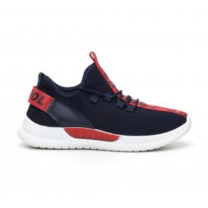 Ανδρικά μπλε υφασμάτινα αθλητικά παπούτσια με κόκκινη επιγραφή