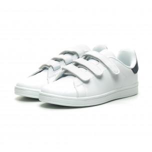 Ανδρικά λευκά sneakers με μπλε λεπτομέρεια και αυτοκόλλητα Joy Way 2
