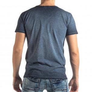 Ανδρική μπλε κοντομάνικη μπλούζα Vintage στυλ   2
