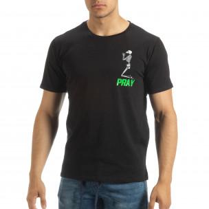 Ανδρική μαύρη κοντομάνικη μπλούζα Pray Trust