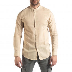Ανδρικό μπεζ πουκάμισο από λινό και βαμβάκι  2
