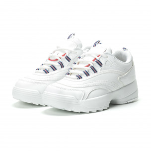 Γυναικεία λευκά sneakers με πλατφόρμα  2