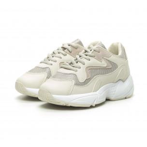 Γυναικεία μπεζ αθλητικά παπούτσια με χοντρή σόλα FM 2