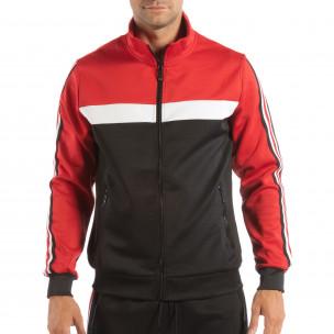 Ανδρικό μαύρο φούτερ με ριγέ 5 striped σε κόκκινο
