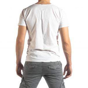 Ανδρική λευκή κοντομάνικη μπλούζα Vintage στυλ 2