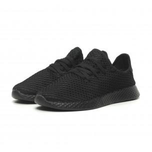 Ανδρικά μαύρα αθλητικά παπούτσια Mesh ελαφρύ μοντέλο  2