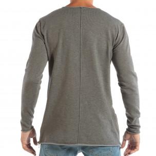 Ανδρική γκρι μπλούζα από πλεκτό ύφασμα με φερμουάρ  2