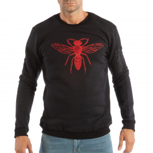 Ανδρική μαύρη μπλούζα με κόκκινο κέντημα