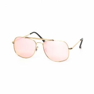 Ανδρικά ροζ γυαλιά ηλίου με χρυσαφί σκελετό