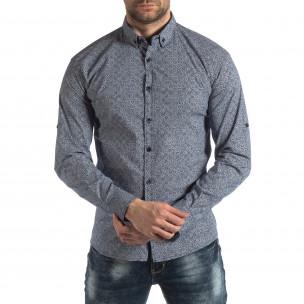 Ανδρικό γαλάζιο Slim fit πουκάμισο με φλοράλ μοτίβο Baros