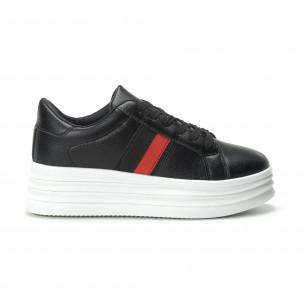 Γυναικεία μαύρα sneakers με διακοσμητική λεπτομέρεια