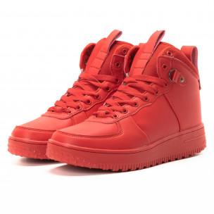 Ανδρικά κόκκινα ψηλά sneakers με τρακτερωτή σόλα 2