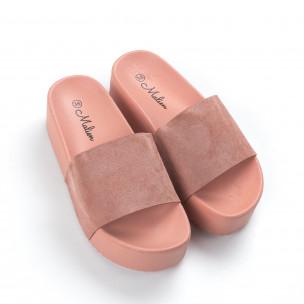 Γυναικείες ροζ παντόφλες με πλατφόρμα 2