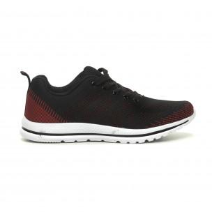 Ανδρικά πλεκτά αθλητικά παπούτσια σε μαύρο-κόκκινο