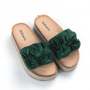 Γυναικείες πράσινες παντόφλες με επένδυση από γιούτα 2