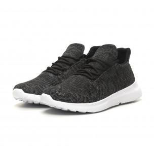 Ανδρικά μαύρα μελάνζ αθλητικά παπούτσια ελαφρύ μοντέλο με διακόσμηση  2