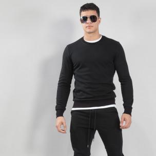 Ανδρική μαύρη βαμβακερή μπλούζα Basic