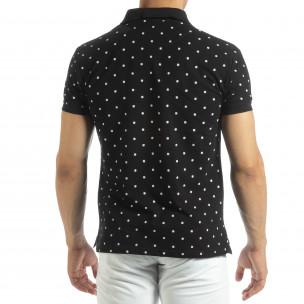 Ανδρική μαύρη polo shirt με Clover μοτίβο  2