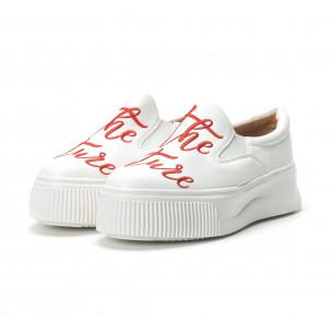 Slip- on γυναικεία λευκά sneakers με κόκκινη επιγραφή 2