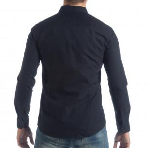 Ανδρικό σκούρο μπλε πουκάμισο Slim fit  2