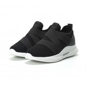 Slip-on γυναικεία μαύρα sneakers με λάστιχα  2