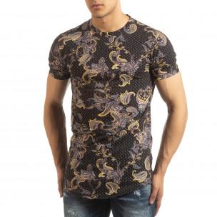 Ανδρική μαύρη κοντομάνικη μπλούζα με σχέδια 2
