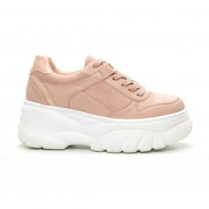Γυναικεία ροζ sneakers Chunky