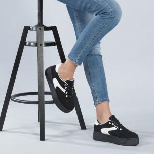 Γυναικεία μαύρα σουέτ sneakers με πλατφόρμα