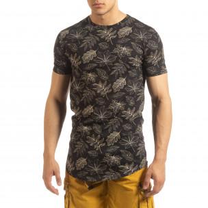Ανδρική μαύρη κοντομάνικη μπλούζα Leaves σχέδιο