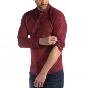 Ανδρικό μπορντό Slim fit πουκάμισο Vintage στυλ  2
