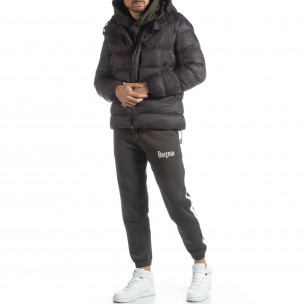 Ανδρικό σκούρο γκρι χειμερινό μπουφάν