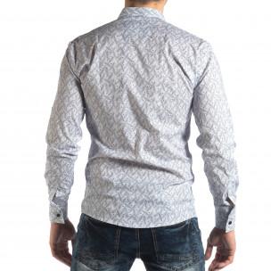 Ανδρικό λευκό Slim fit πουκάμισο με μοτίβο φύλλα  2