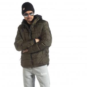 Ανδρικό χειμερινό μπουφάν με κουκούλα σε χρώμα military
