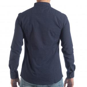 Ανδρικό μπλε πουά πουκάμισο Slim fit 2