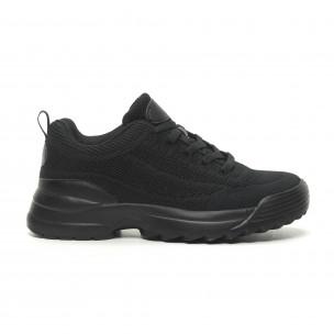 Ανδρικά μαύρα αθλητικά παπούτσια All Black με Chunky σόλα