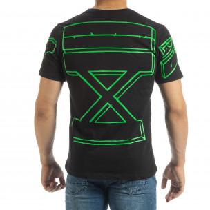 Ανδρική μαύρη κοντομάνικη μπλούζα με πράσινο νέον πρίντ 2