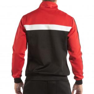 Ανδρικό μαύρο φούτερ με ριγέ 5 striped σε κόκκινο 2