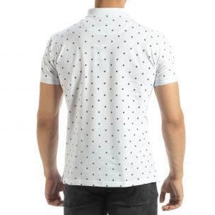 Ανδρική λευκή  polo shirt με Clover μοτίβο  2