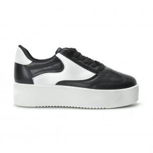 Γυναικεία μαύρα sneakers με πλατφόρμα κλασικό μοντέλο