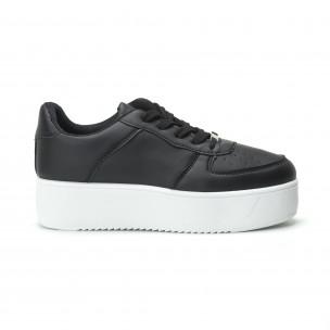 Basic γυναικεία μαύρα sneakers με πλατφόρμα