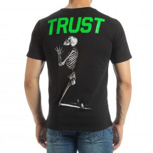 Ανδρική μαύρη κοντομάνικη μπλούζα Pray Trust  2