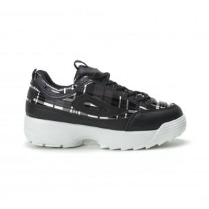 Γυναικεία μαύρα καρέ sneakers με Chunky πλατφόρμα