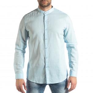 Ανδρικό γαλάζιο πουκάμισο από λινό και βαμβάκι