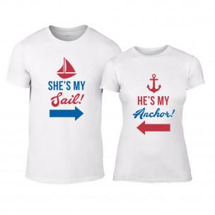 Μπλουζες για ζευγάρια Sail Anchor λευκό