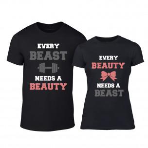 Μπλουζες για ζευγάρια Beauty Beast μαύρο