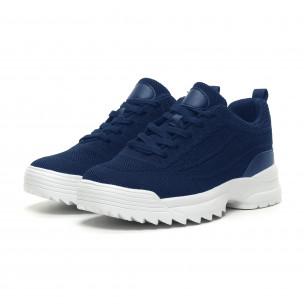 Ανδρικά μπλε αθλητικά παπούτσια με Chunky σόλα  2