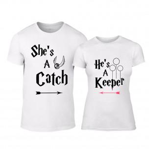 Μπλουζες για ζευγάρια Catch Keeper λευκό