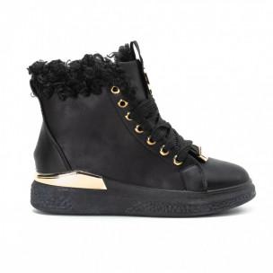 Γυναικεία μαύρα ψηλά Sneakers με χρυσές λεπτομέρειες 2